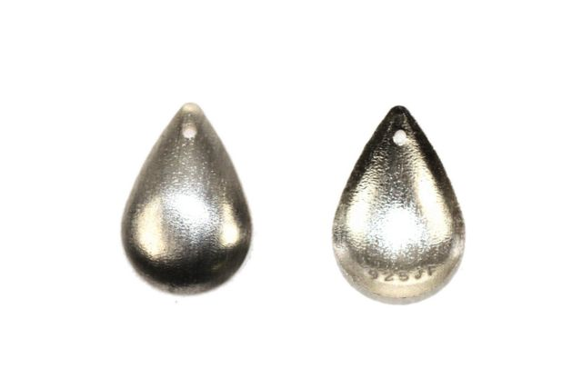 Sterling Silver Fancy Brushed Curved Pear