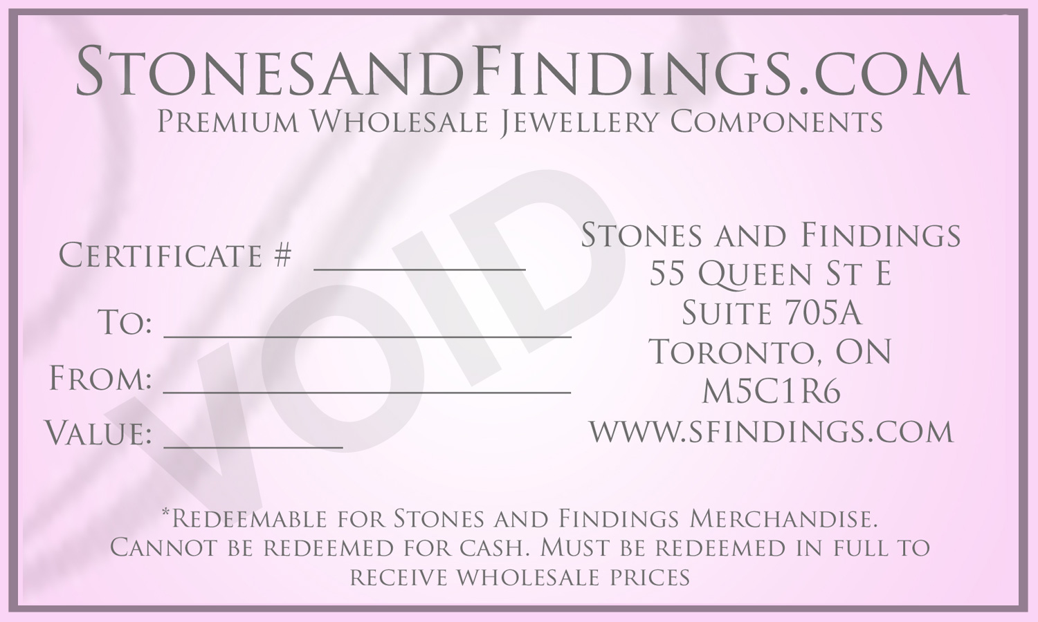 Stones & Findings Gift Certifcate