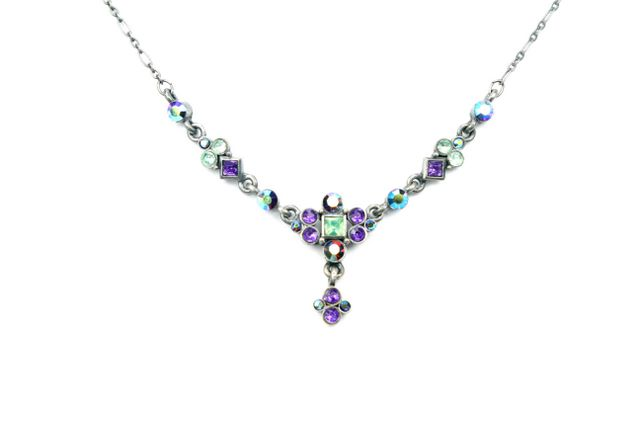 Swarovski Amethyst Peridot Pewter Silver Plated Necklace