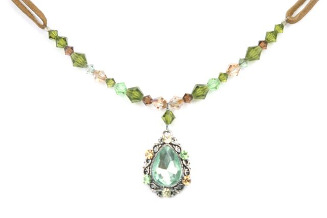Swarovski Green Brown Tea Blue Necklace Antique Pear Pendant