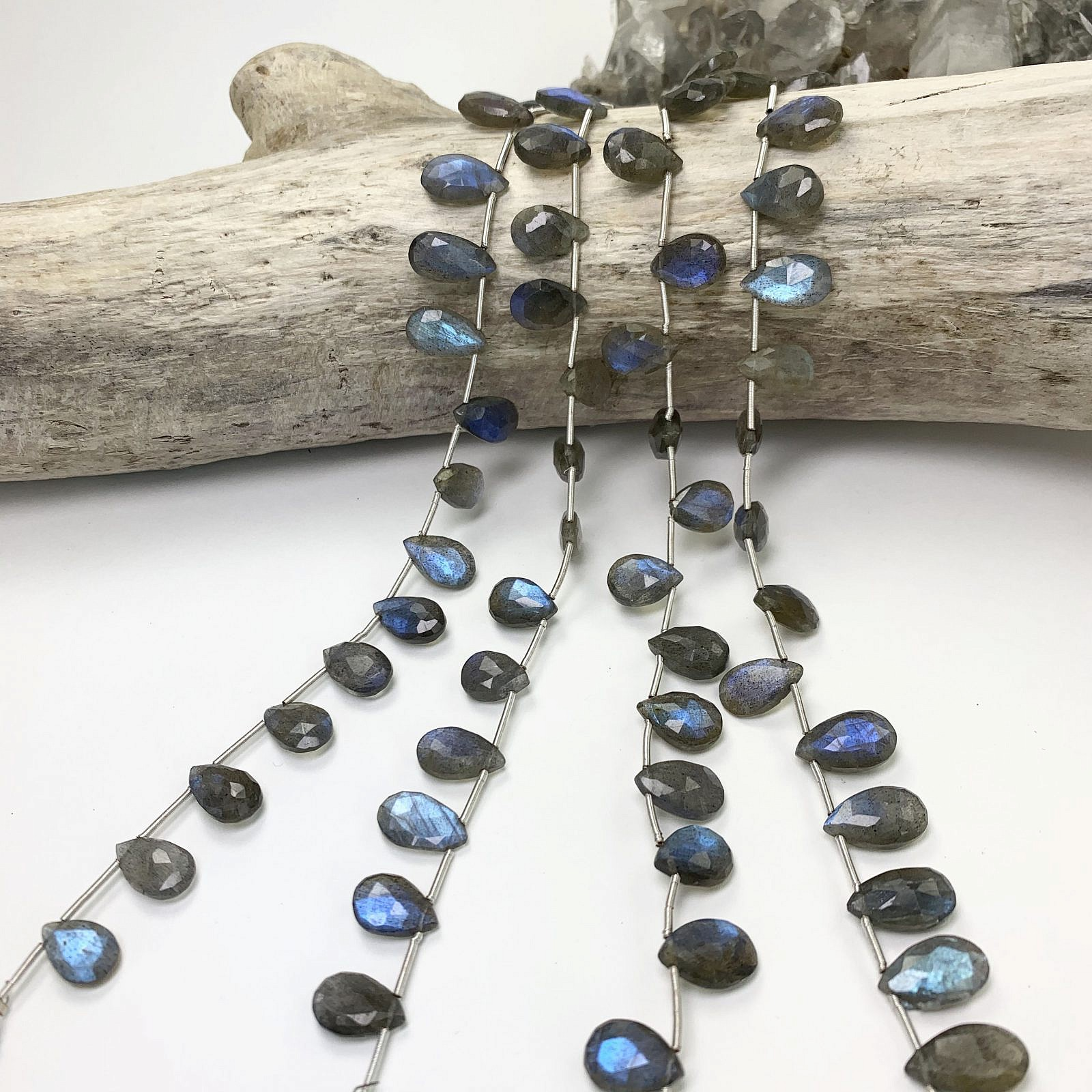Labradorite Faceted LARGE Elongated Pear Briolettes-7.50 inches Strand-Stones measure-17x9-32x12mm-B3602