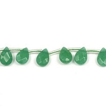 Jade Dyed Green Pear Faceted Flat Pear SJ01O