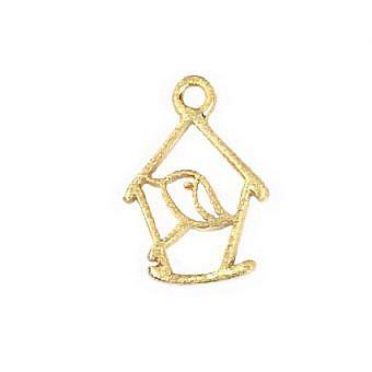 Gold Vermeille Charm Birdhouse FH8DV