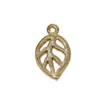 Gold Vermeille Charm Leaf Open FH5XV