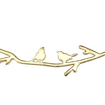 Gold Vermeille Connector Connector Serenading Birds FO80V