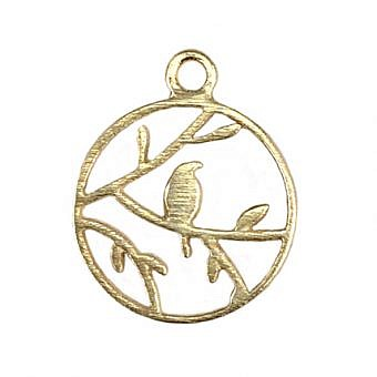 Gold Vermeille Pendant Finch in a Tree FPMIV