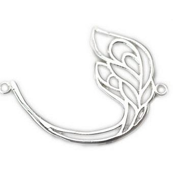 Sterling Silver Pendant Connector Sweeping Peacock Feather FO6US