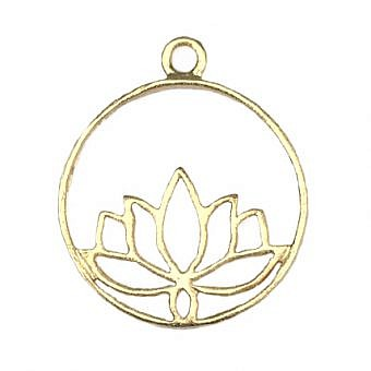 Gold Vermeille Pendant Lotus Pond Circle FPMMV