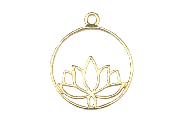 Gold Vermeille Lotus Pond Circle 14×17 mm