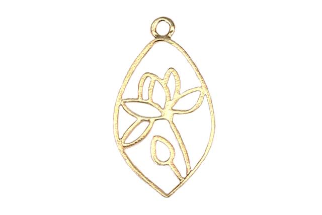 Gold Vermeille Lotus Pond Drop 11×19 mm
