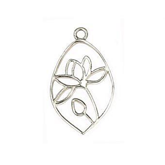 Sterling Silver Pendant Lotus Pond Drop FPMLS