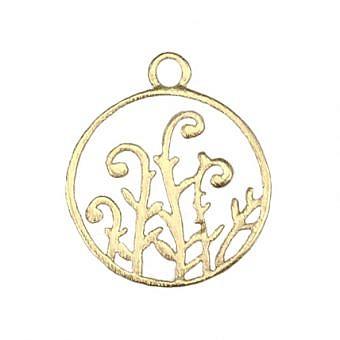 Gold Vermeille Pendant Circle of Fern Fiddles FPMNV