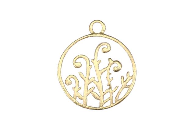 Gold Vermeille Circle of Fern Fiddles 12×15 mm