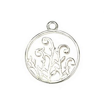 Sterling Silver Pendant Circle of Fern Fiddles FPMNS