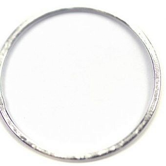 Sterling Silver Pendant Soldered Ring Circle Brushed FN4TS
